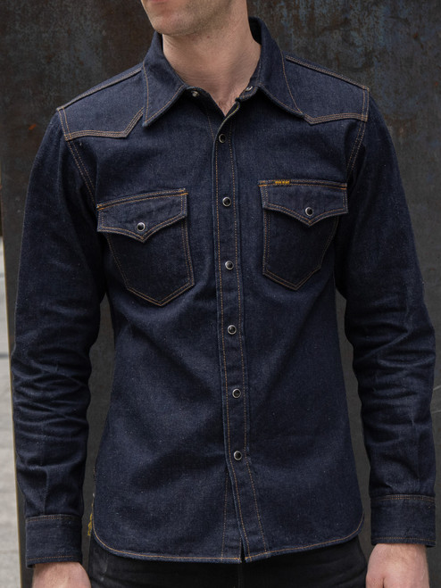 IHSH-33 Indigo 12 oz. Selvedge Denim Western Shirt