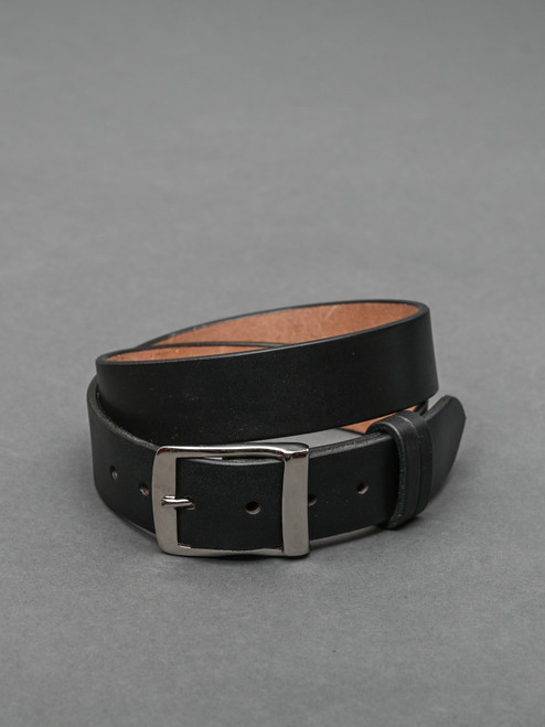 "Bridle Leather 1.5 "" Belt / Black / Nickel Plated Full Buckle"
