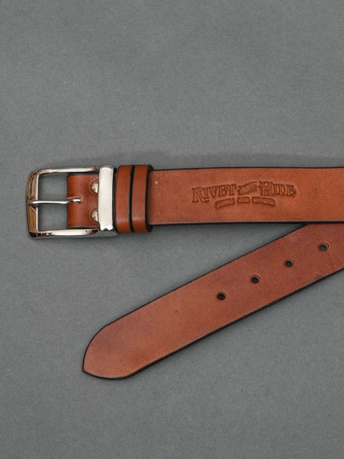"""Bridle Leather 1.5"""" Belt - Brown - Nickel Plated Full Buckle"""