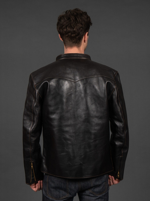 The Flat Head Horsehide Leather Cafe Racer Black
