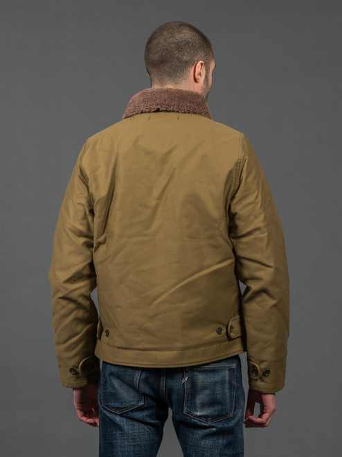 Iron Heart Whipcord Alpaca Lined N1 Deck Jacket - Khaki