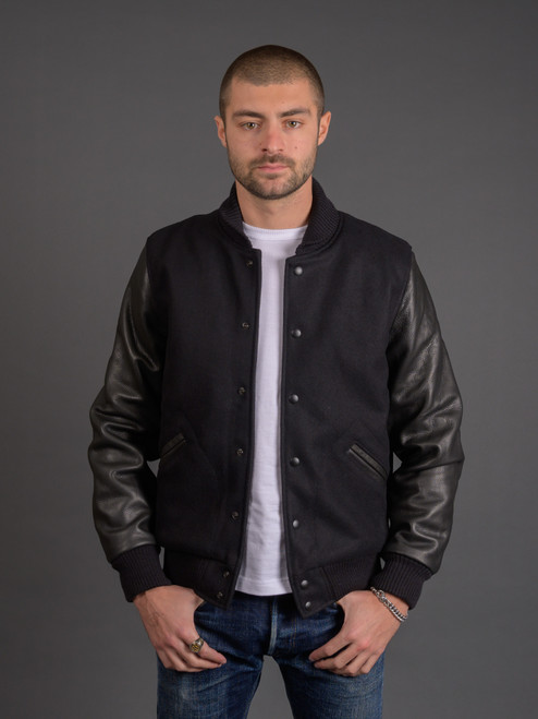 Dehen Leather & Wool Varsity Jacket - Black
