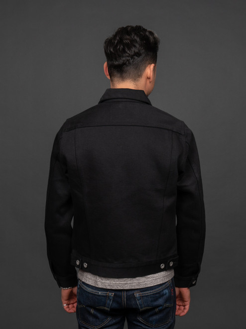 Iron Heart Non-Fade Super Black 21 oz Modified Type III Trucker Jacket