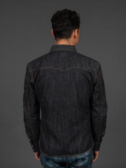 The Flat Head Selvedge Denim Western Shirt - One Wash