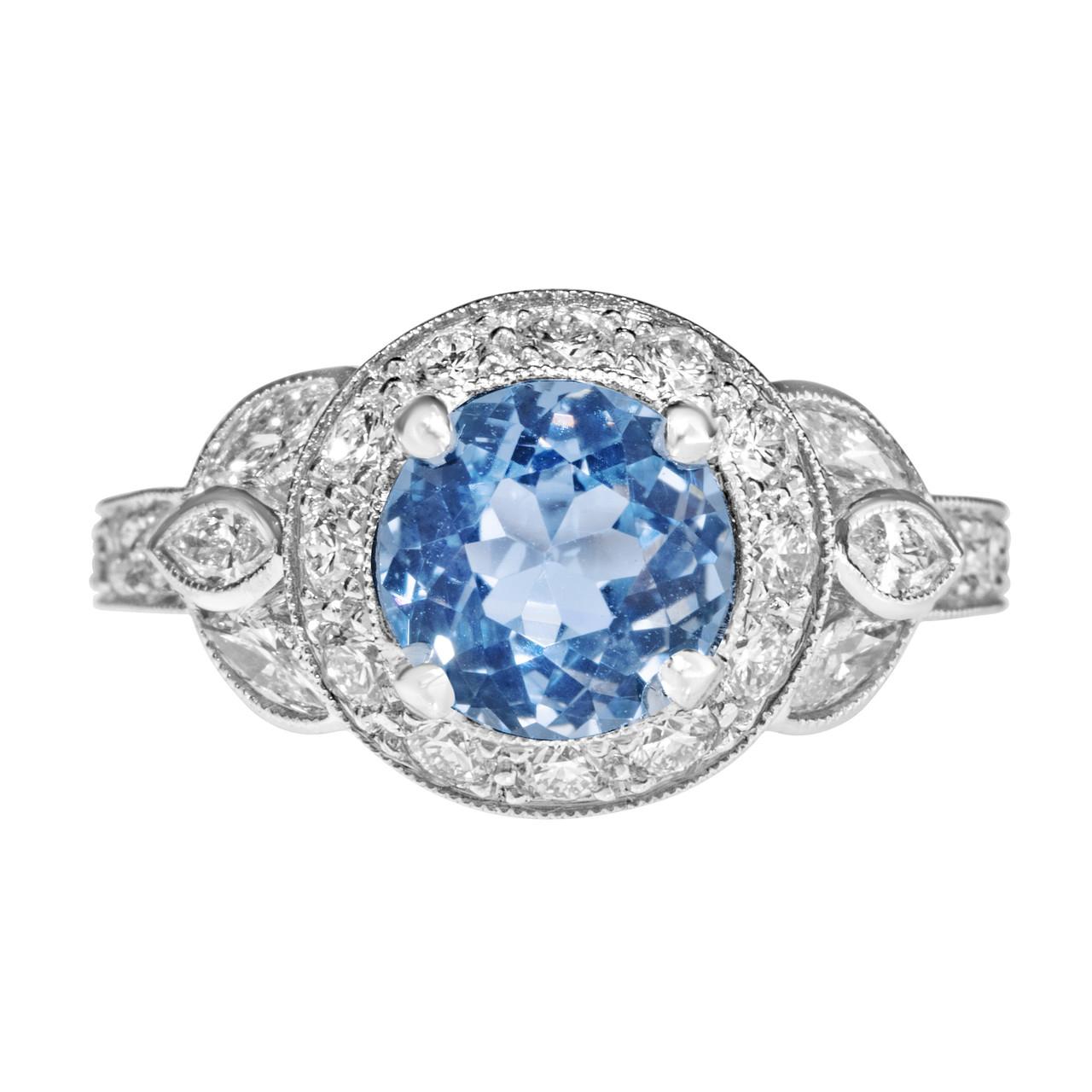 Light Blue Sapphire Vintage Engagement Ring Natural Blue