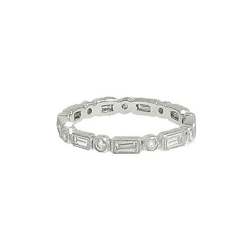 Brilliant and Baguette Diamond Wedding Band in Platinum