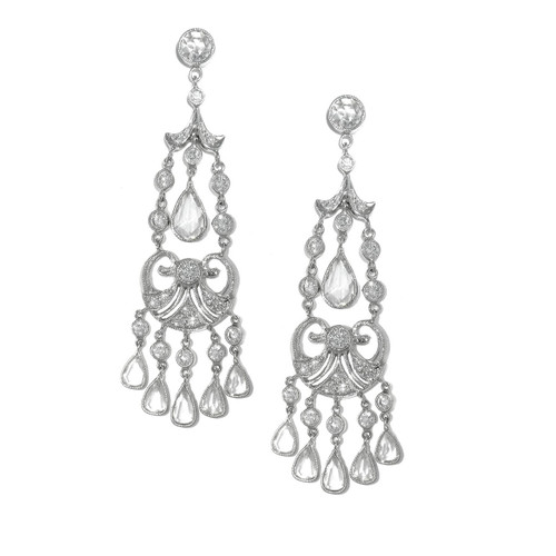 Vintage Inspired Platinum Chandelier Style Diamond Earrings Online
