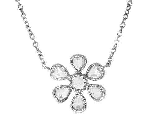 Rose Cut Diamond Platinum Flower Pendant on Chain