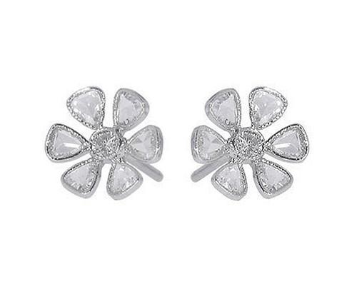 Rose Cut Diamond Flower Stud Earrings in Platinum