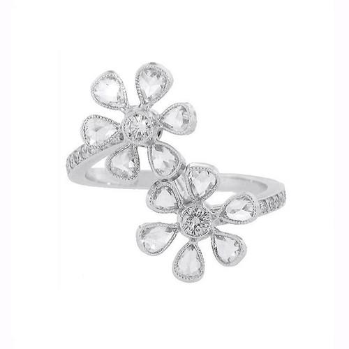 Rose Cut Diamond Double Flower Ring in Platinum
