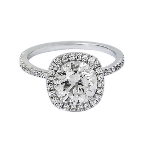 Halo Brilliant Diamond Engagement Ring in Platinum