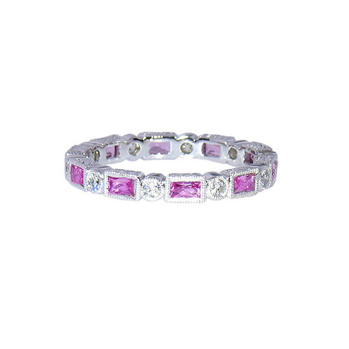 Diamond and Pink Sapphire Baguette Wedding Band