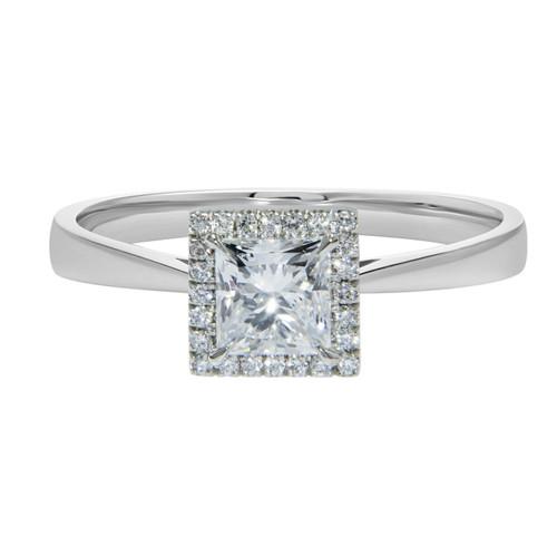 Princess Cut Diamond Halo Engagement Ring in Platinum