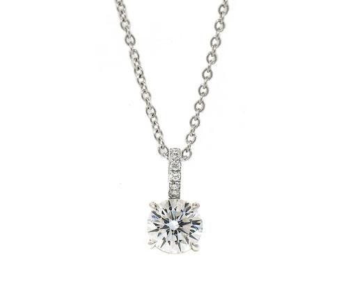 Brilliant Cut Diamond Pendant in White Gold