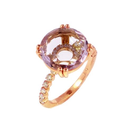 Rose Gold Amethyst Vitrine Ring