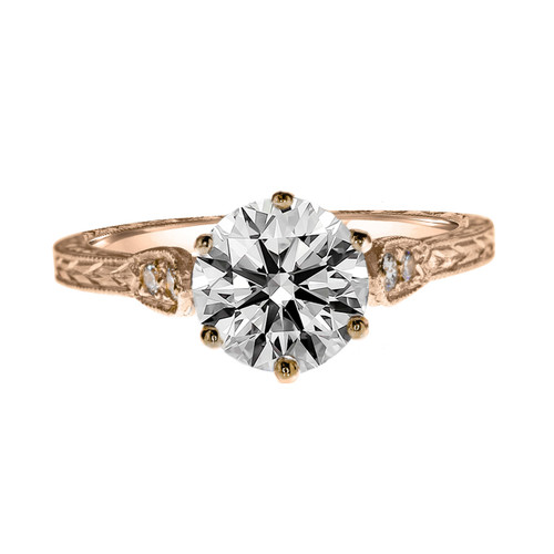 Vintage Style Rose Gold Engagement Ring