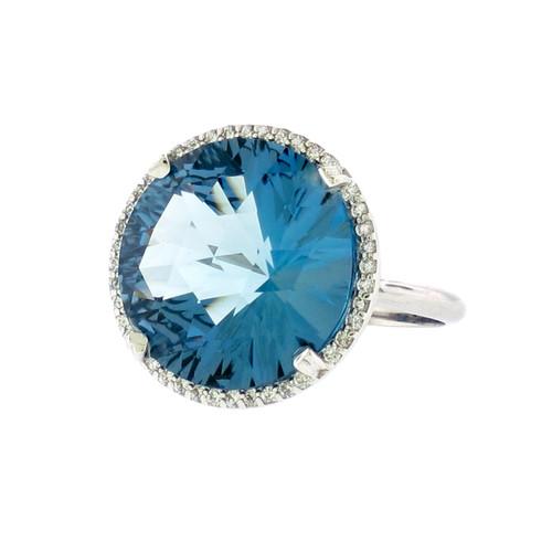 Lisa Nik Round London Blue Topaz Ring in White Gold