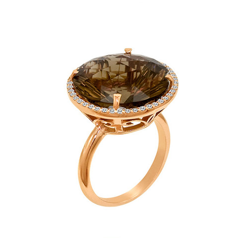 large round smoky quartz cocktail ring