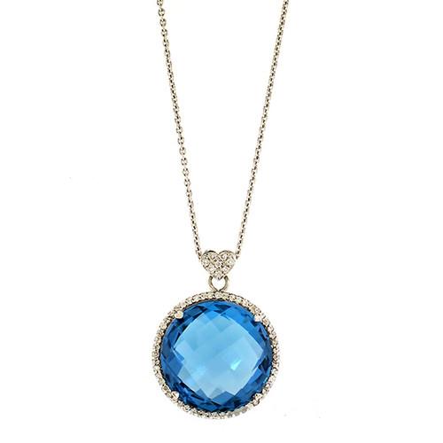 Lisa Nik Round London Blue Topaz Pendant with Diamonds