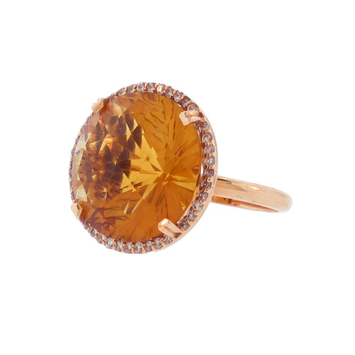 Round Citrine Ring in Rose Gold
