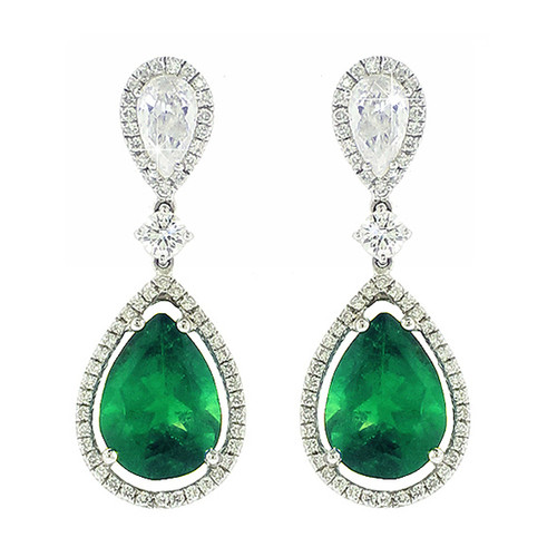 Emerald Pear Shape Earrings with Diamonds