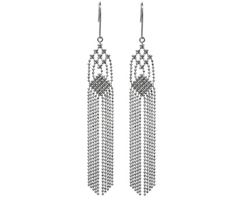 White Gold Long Tassle Earrings