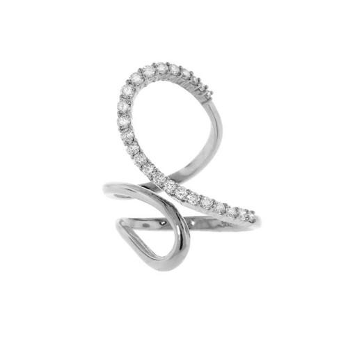White Gold Open Swirl Diamond Ring