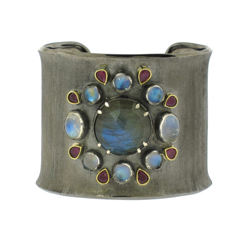 Cuff Bracelet Moonstone and Labradorite Silver and Gold