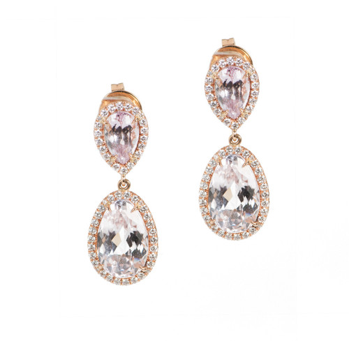 Rose Gold Kunzite Drop Earrings with Micro Pave Diamonds