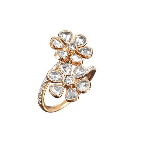 Double Flower Diamond Ring in Rose Gold