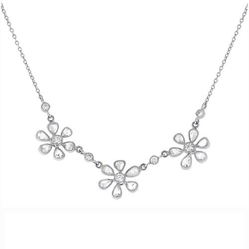 Rose Cut Diamond Flowers Platinum Chain Necklace
