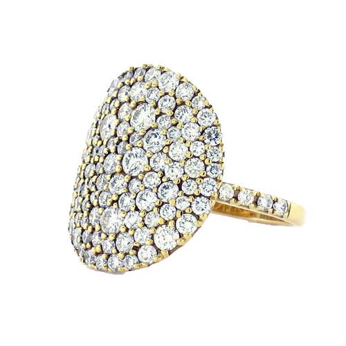 Gold Flat Pave Disc Diamond Ring