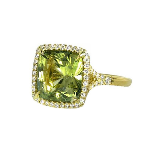 Green Sapphire Ring with Diamond Halo
