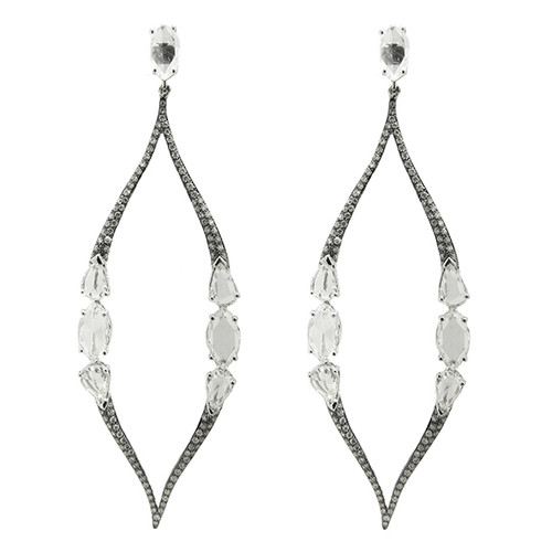 White Gold Marquise Shape Drop Earrings with Rose Cut Diamonds and Micropave Diamonds