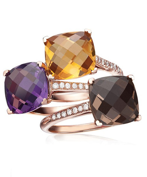 Cushion gemstone stackable rings