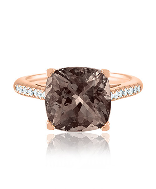Smoky Topaz Ring with Diamonds