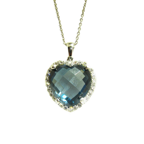 Heart Shape London Blue Topaz Pendant with Diamonds