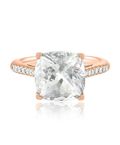 Cushion clear quartz ring in rose gold