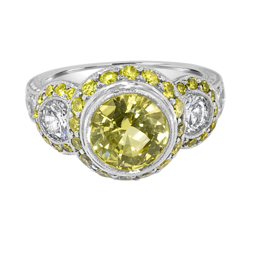 Yellow Sapphire and Diamond Engagement Ring