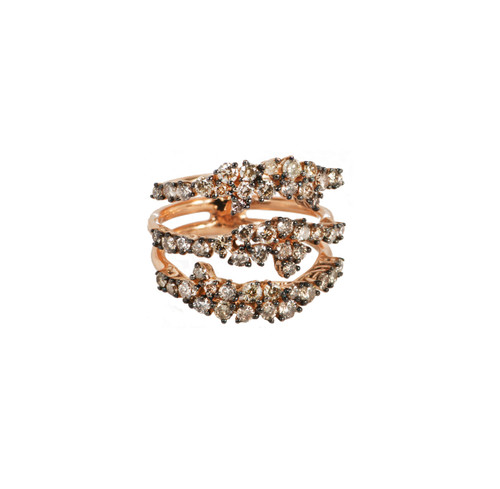 Cognac Diamonds and Rose Gold Triple Band Ring