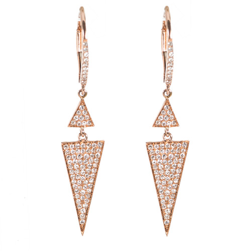 Rose Gold Triangle Dangle Earrings with Micro Pave Diamonds
