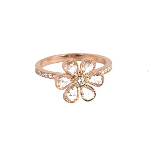 rose gold flower diamond ring