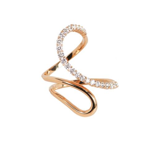 Rose Gold High Polish Modern Open Swirl Ring with Diamonds