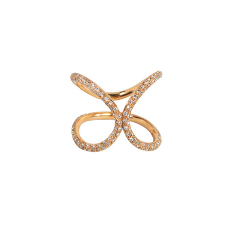 Unique Modern style ring with Pave Diamonds. Abstract Shape Gold Ring