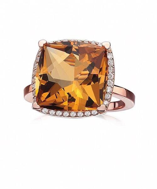 Rose Gold Ring with Cushion Citrine
