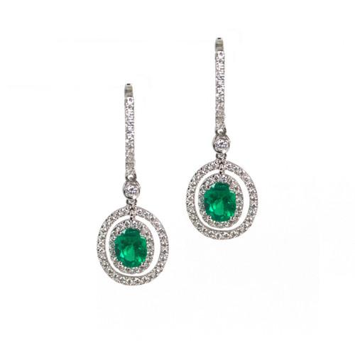 Small drop halo emerald earrings