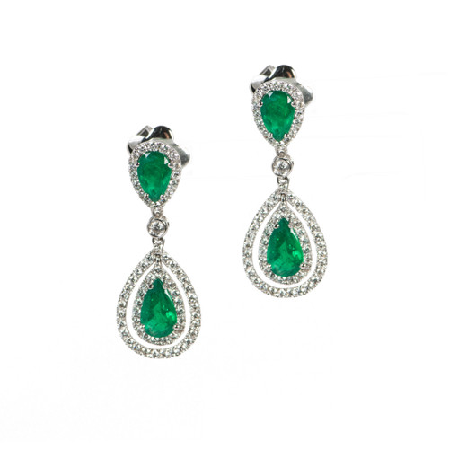Emerald Pear Shaped Drop Halo Earrings