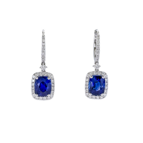 Blue Sapphire Cushion Drop Earrings