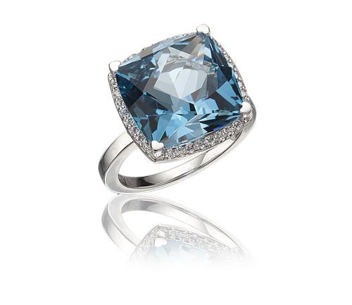 Lisa Nik Blue Topaz Cushion Ring