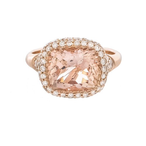 Morganite Cushion Ring in Rose Gold with Pave Diamonds